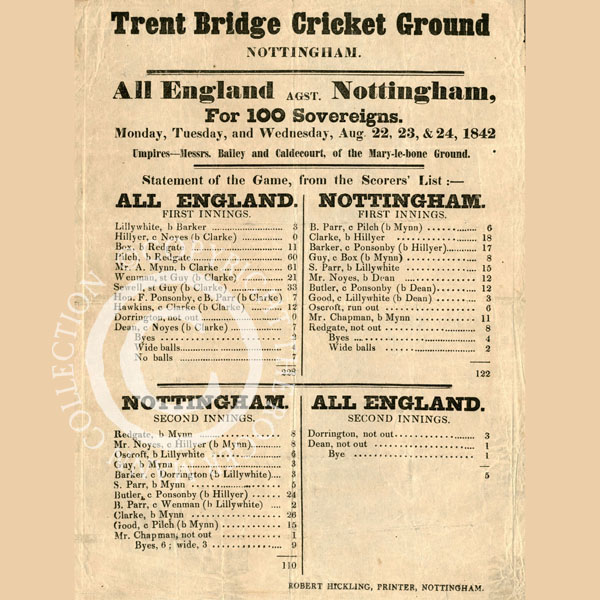 A Trent Bridge Match Bill in 1842